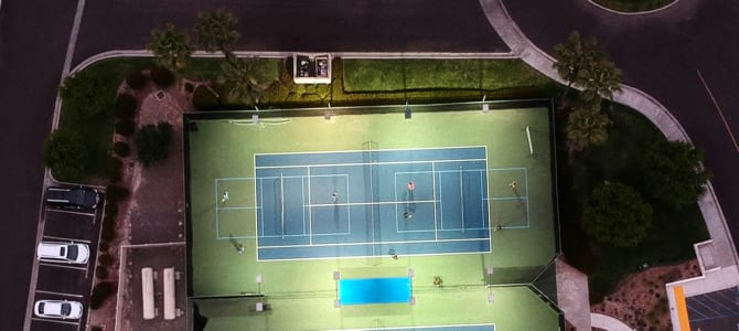 2 pickleball courts set on a tennis court