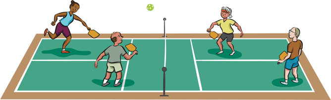 Four mature people play pickleball game