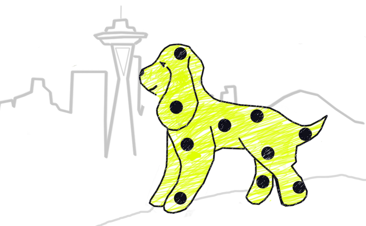 hand drawn cocker spaniel Pickles with Seattle skyline in background